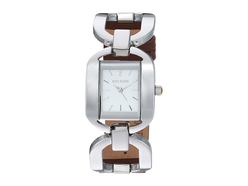 Steve Madden - Alloy Case Band Watch (Silver/Brown) Watches