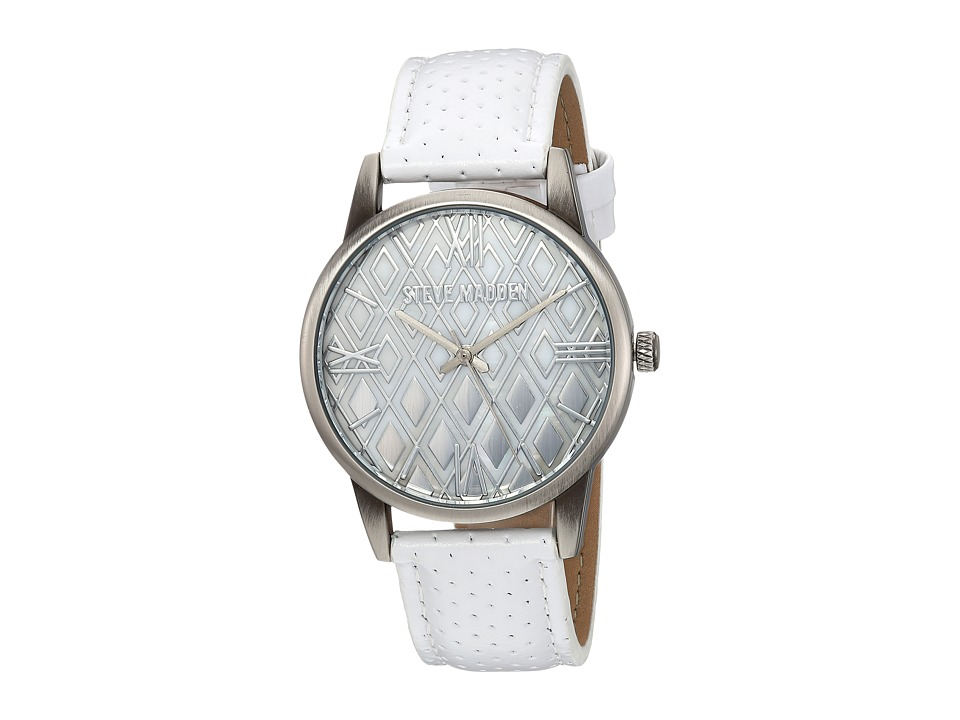 Steve Madden - Diamond Dial Leather Watch (White) Watches