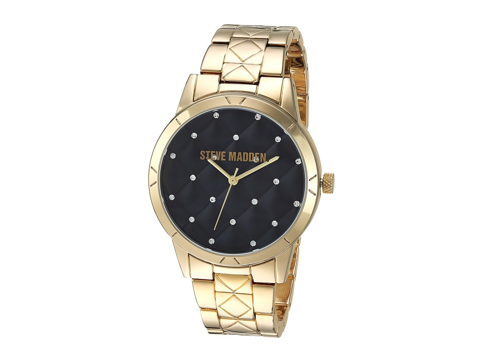 Steve Madden - Quilt Alloy Case Band Watch (Gold) Watches