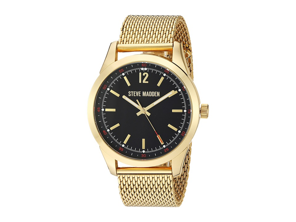 Steve Madden - Dial Mesh Band Watch (Black/Gold) Watches