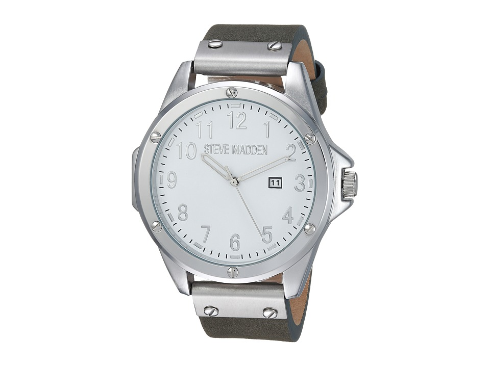 Steve Madden - Minimal Leather Watch (Silver/Grey) Watches