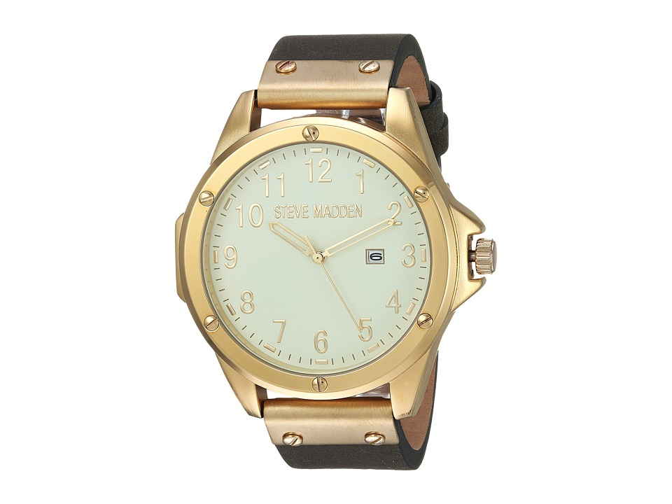 Steve Madden - Minimal Leather Watch (Gold/Grey) Watches
