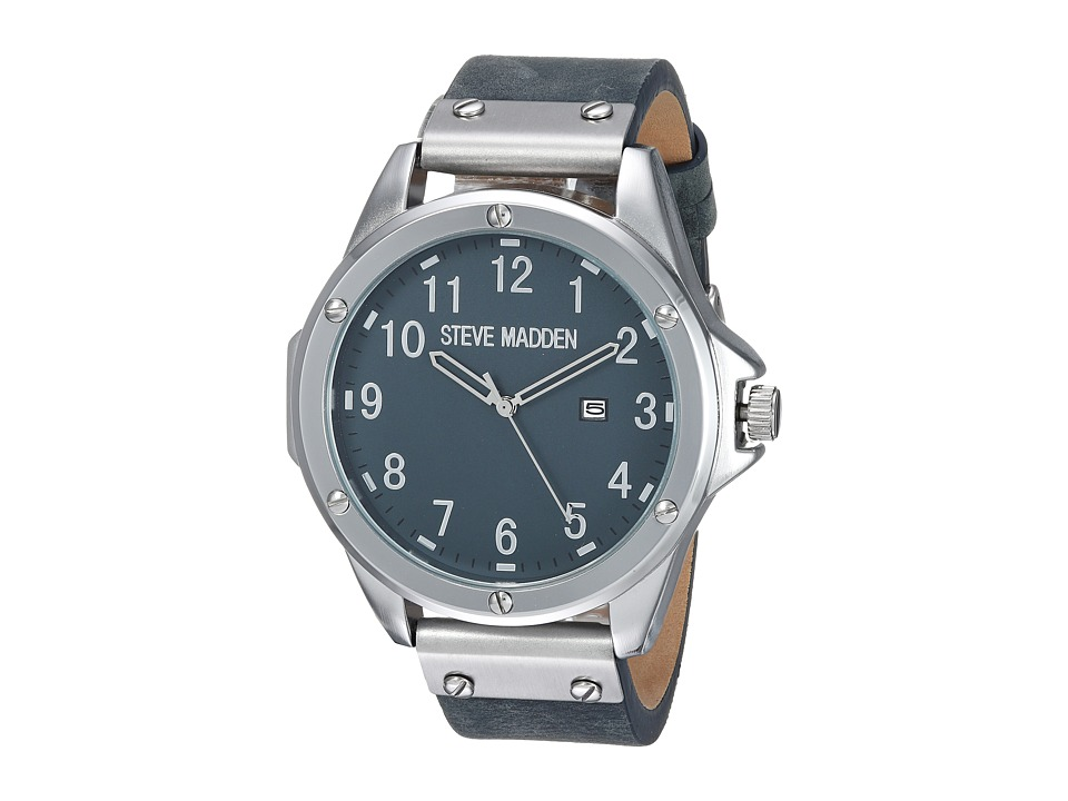 Steve Madden - Minimal Leather Watch (Silver) Watches