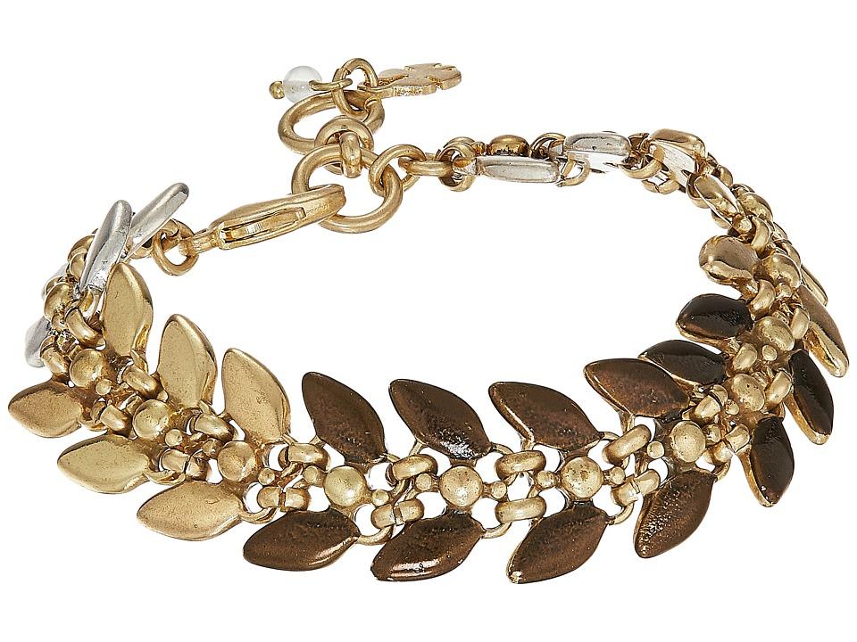 Lucky Brand - Tri-Tone Leaf Link Bracelet (Two-Tone) Bracelet