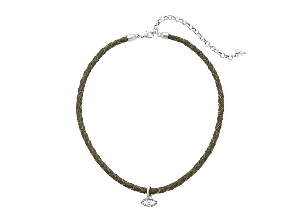 Lucky Brand - Evil Eye Leather Choker Necklace (Silver) Necklace