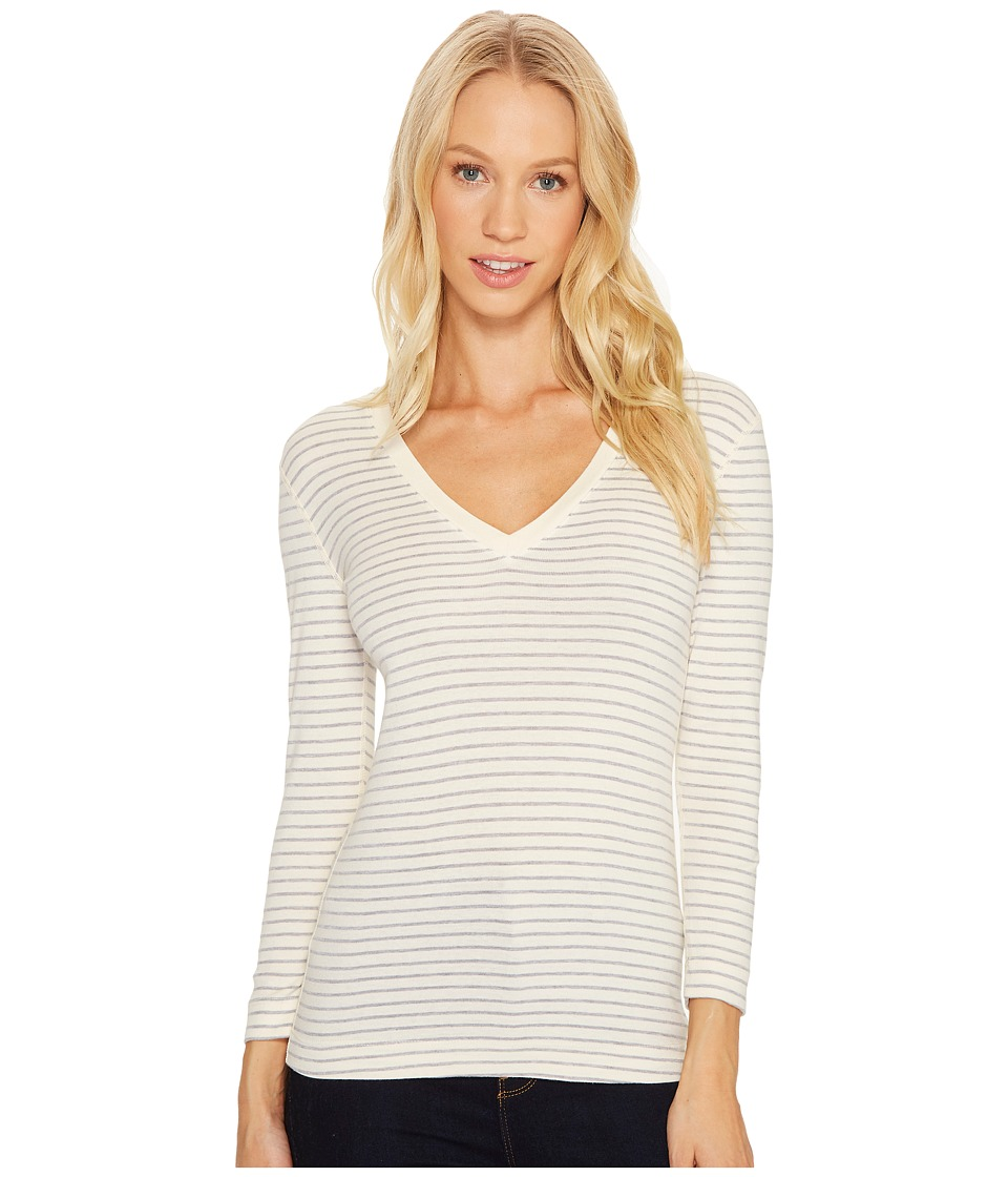 Three Dots - Tahoe Stripe 3/4 Sleeve Deep V-Neck (Cream/Granite) Women's Clothing