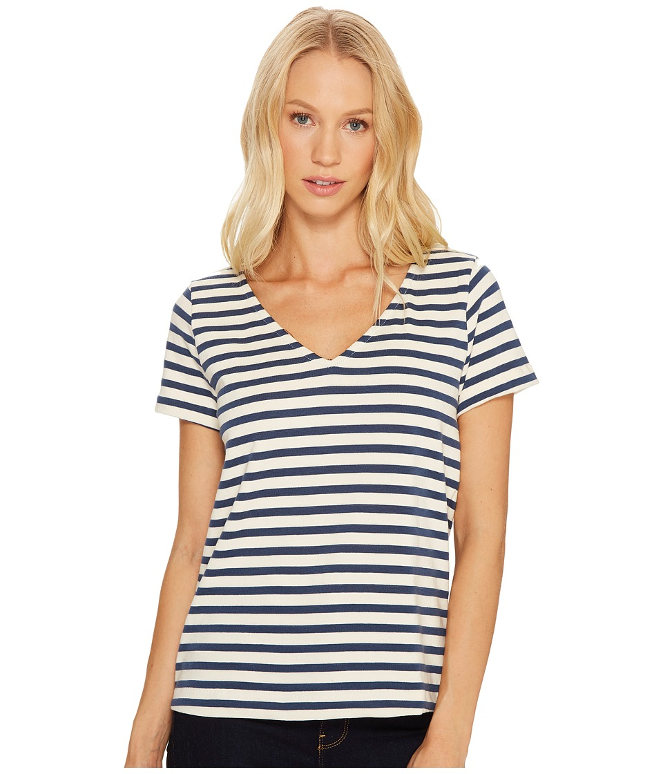Three Dots - Breton Stripe V-Neck Short Sleeve Tee (Cadet/Cream) Women's Clothing