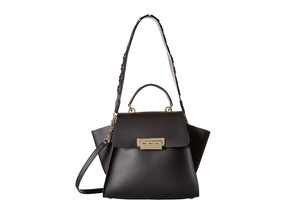 ZAC Zac Posen - Eartha Iconic Top-Handle - Solid w/ Floral Strap (Black) Top-handle Handbags
