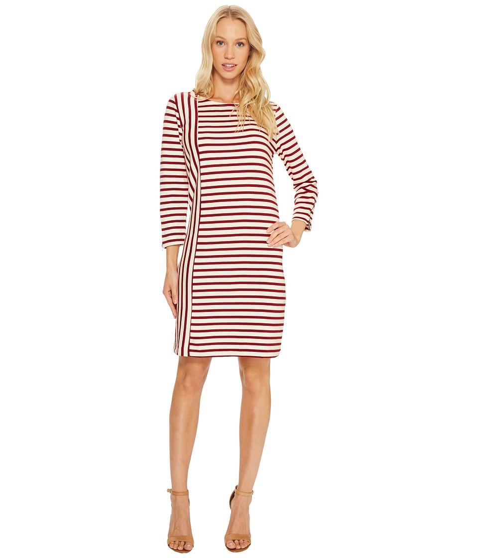 Three Dots - Breton Stripe Combo Shift Dress (Wine/Cream) Women's Dress