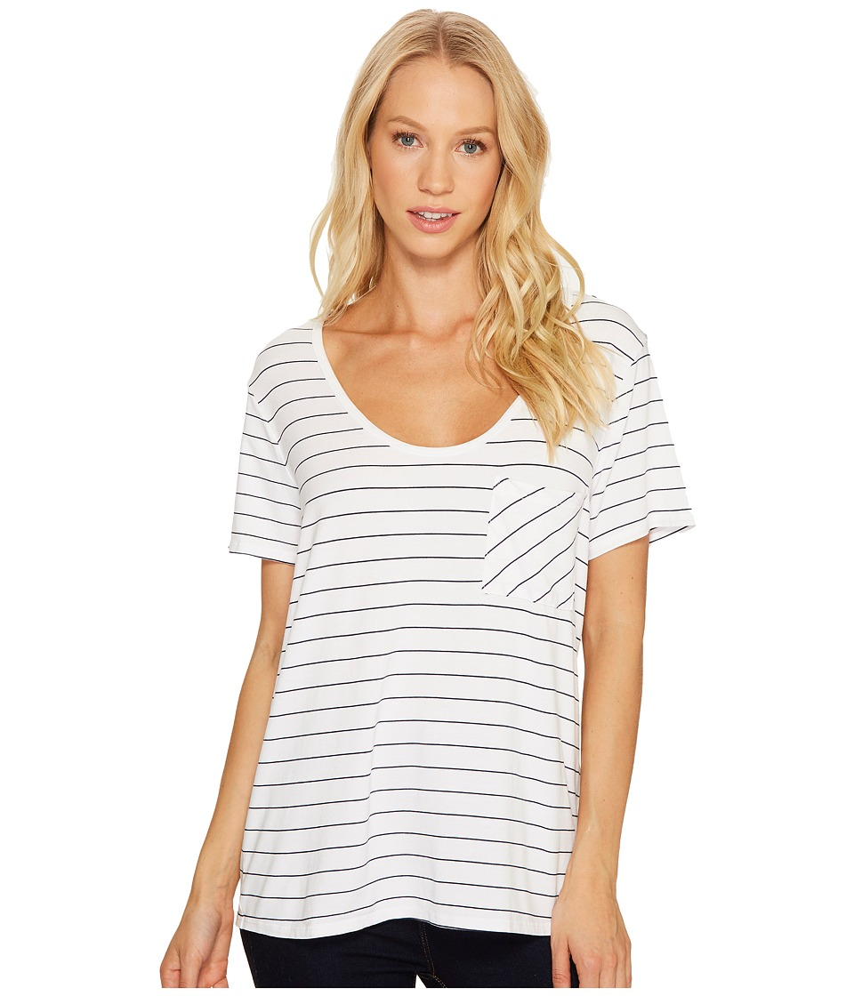 Three Dots - Pinstripe Jersey U-Neck Pocket (White) Women's Clothing