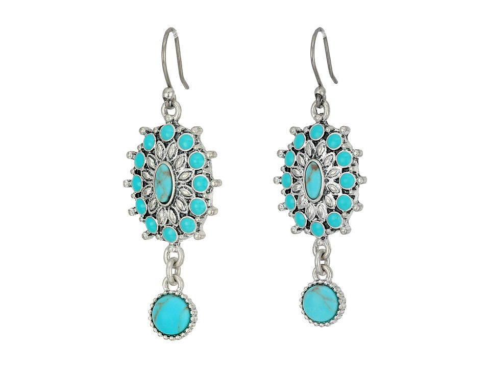 Lucky Brand - Turquoise Squash Blossom Earrings (Silver) Earring