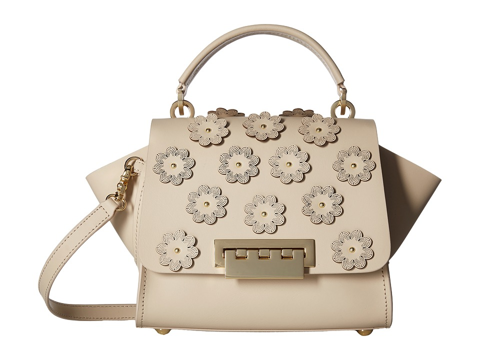 ZAC Zac Posen - Eartha Iconic Top-Handle Crossbody w/ Floral Applique (Sand Dollar) Cross Body Handbags