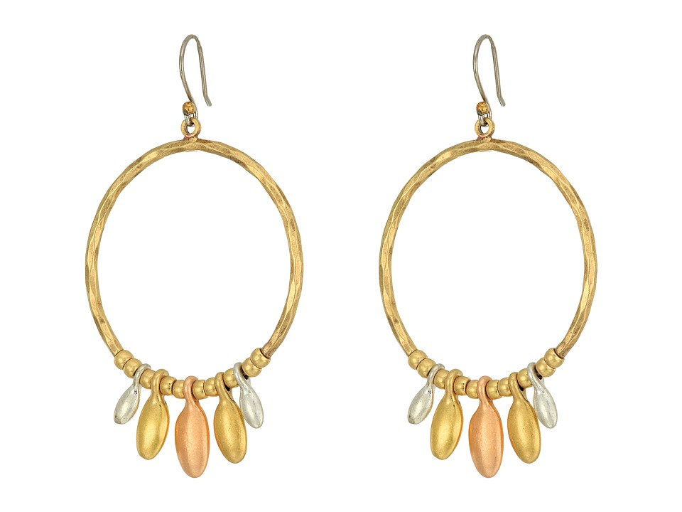 Lucky Brand - Tri-Tone Dangle Hoop Earrings (Two-Tone) Earring