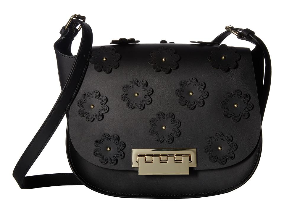 ZAC Zac Posen - Eartha Iconic Saddle - Floral Applique (Black) Handbags
