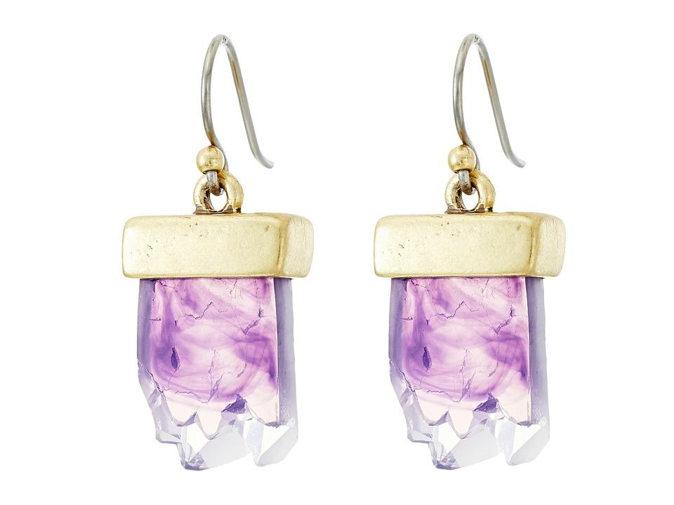 Lucky Brand - Drusy Drop Earrings (Gold) Earring