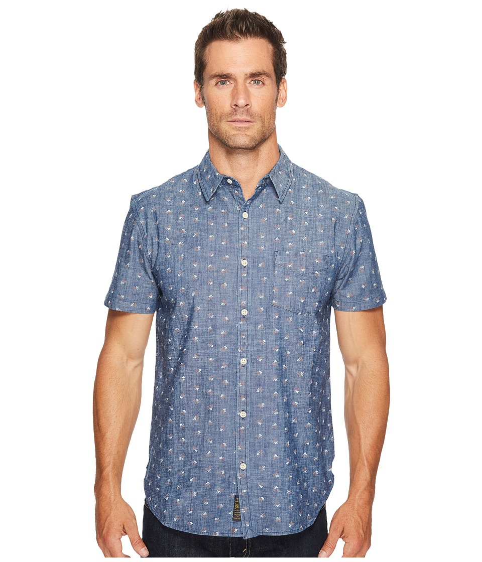 Lucky Brand - Short Sleeve Ballona Shirt (Chambray Print) Men's Clothing