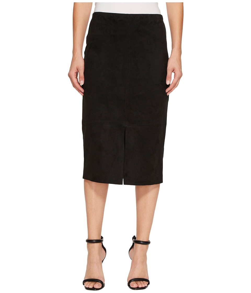Karen Kane Faux Suede Midi Skirt (Black) Women's Skirt