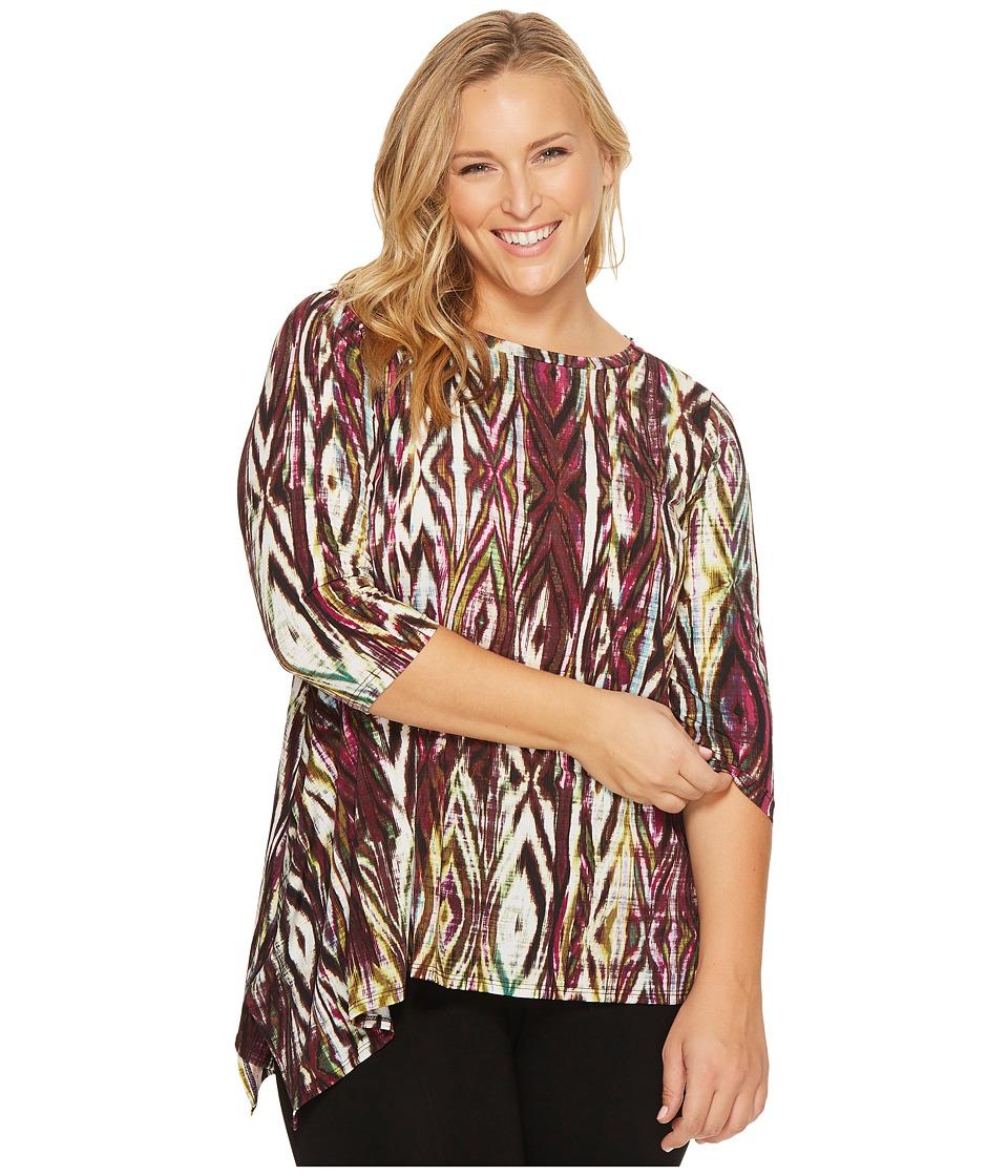 Karen Kane Plus - Plus Size 3/4 Sleeve Asymmetric Hem Tee (Print) Women's T Shirt