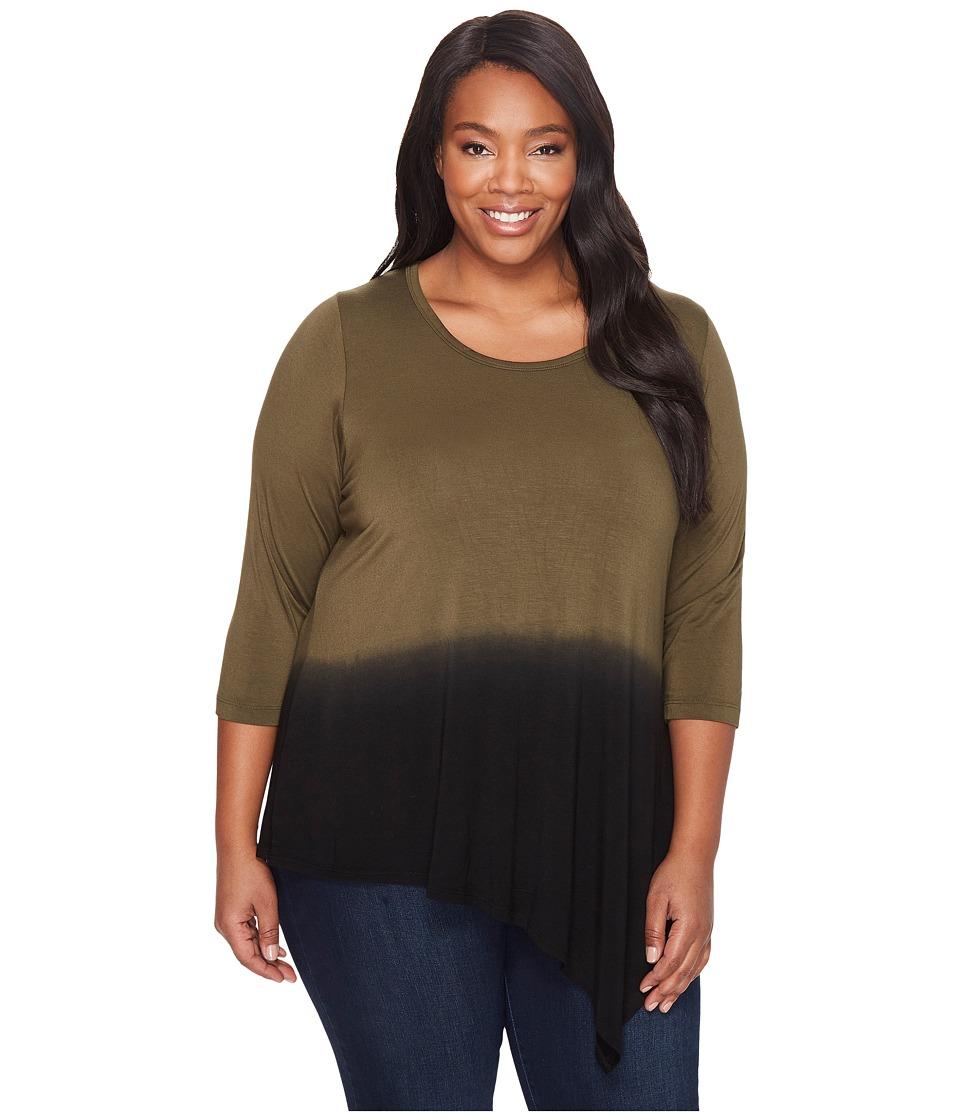 Karen Kane Plus - Plus Size Angled Hem Dip-Dye Top (Sage) Women's Clothing