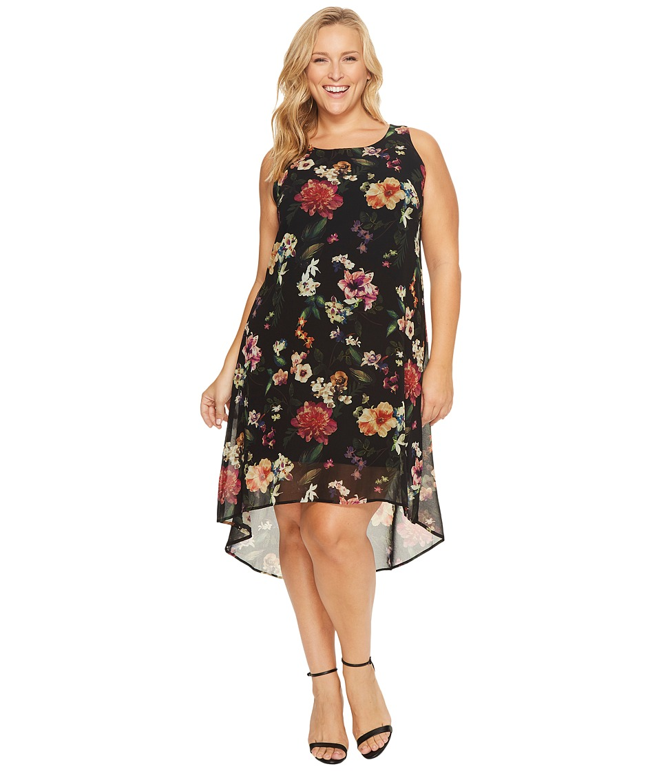 Karen Kane Plus Plus Size Floral Hi-Lo Hem Dress