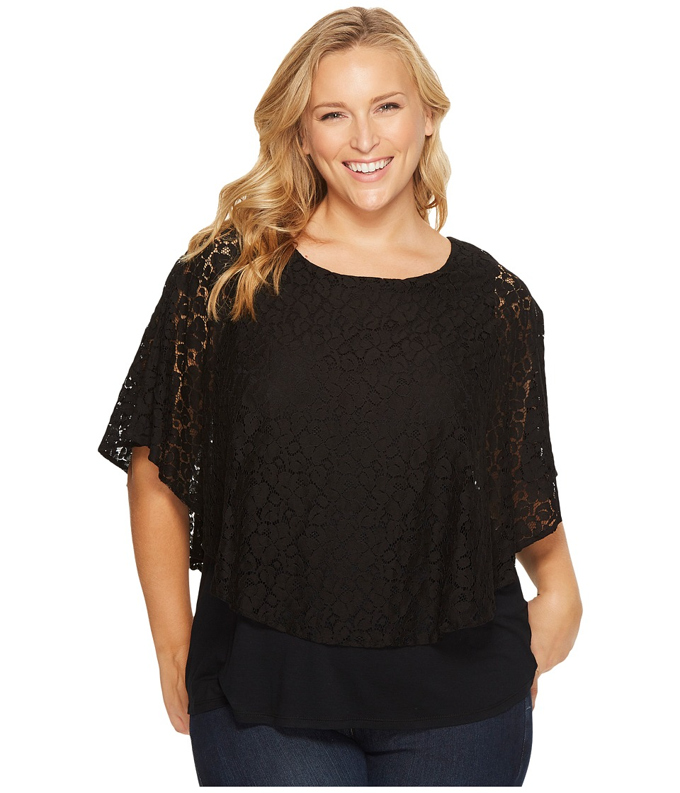 Karen Kane Plus - Plus Size Layered Lace Top (Black) Women's Clothing
