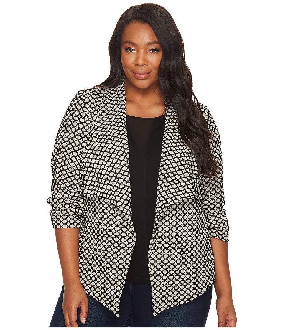 Karen Kane Plus - Plus Size Jacket with Shirred Sleeves (Jacquard) Women's Jacket