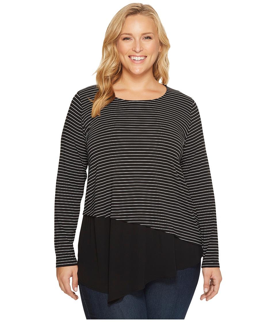 Karen Kane Plus - Plus Size Contrast Asymmetric Top (Stripe) Women's Clothing
