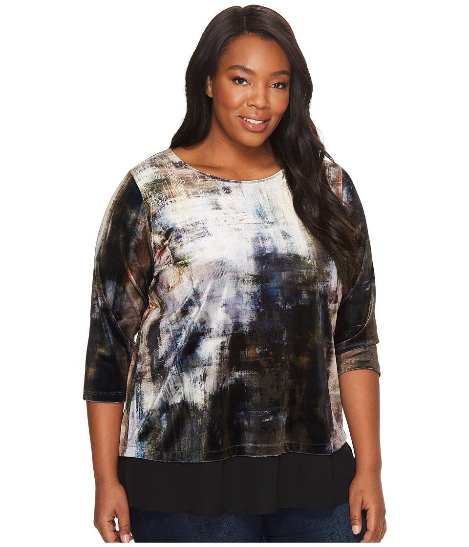 Karen Kane Plus Plus Size Velvet Contrast Hem Top (Print) Women's Short Sleeve Pullover