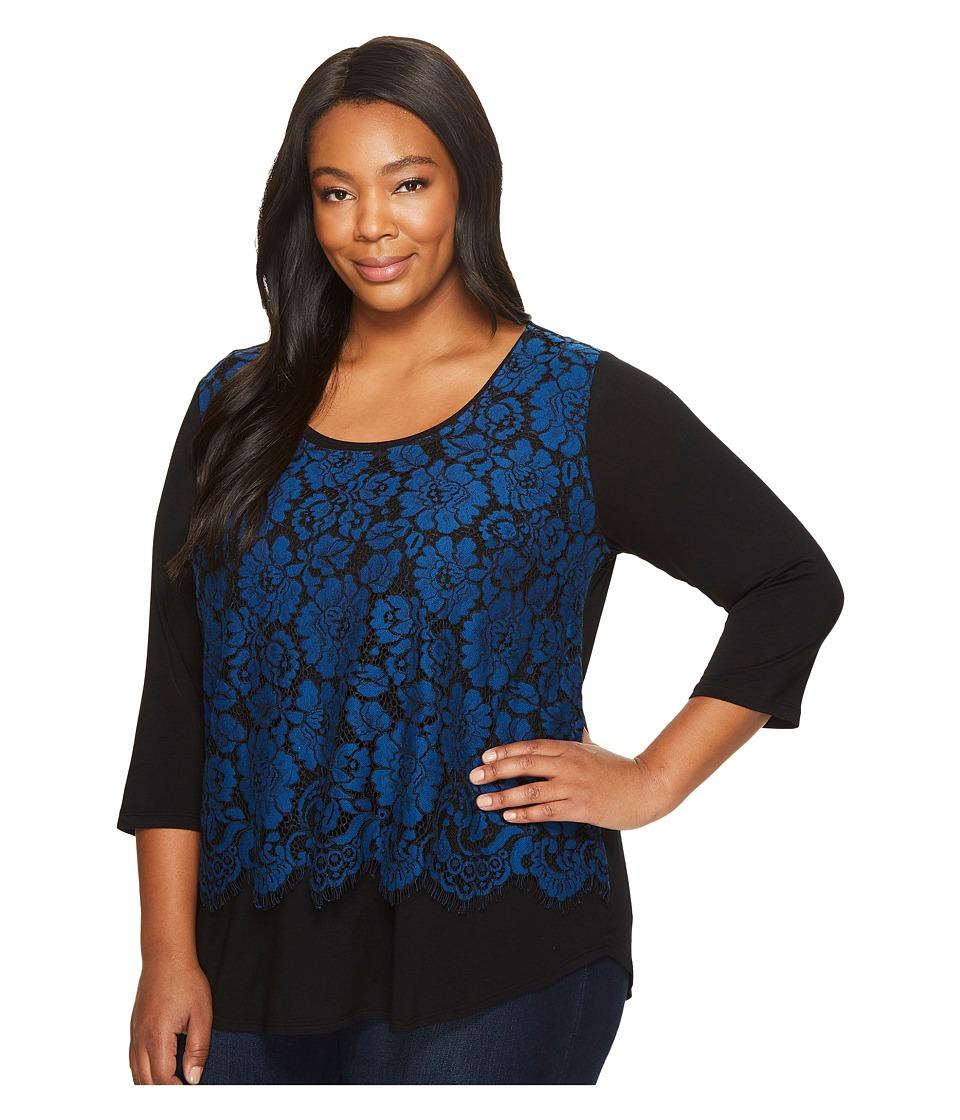Karen Kane Plus - Plus Size Lace Overlay Top (Blue/Black) Women's Long Sleeve Pullover