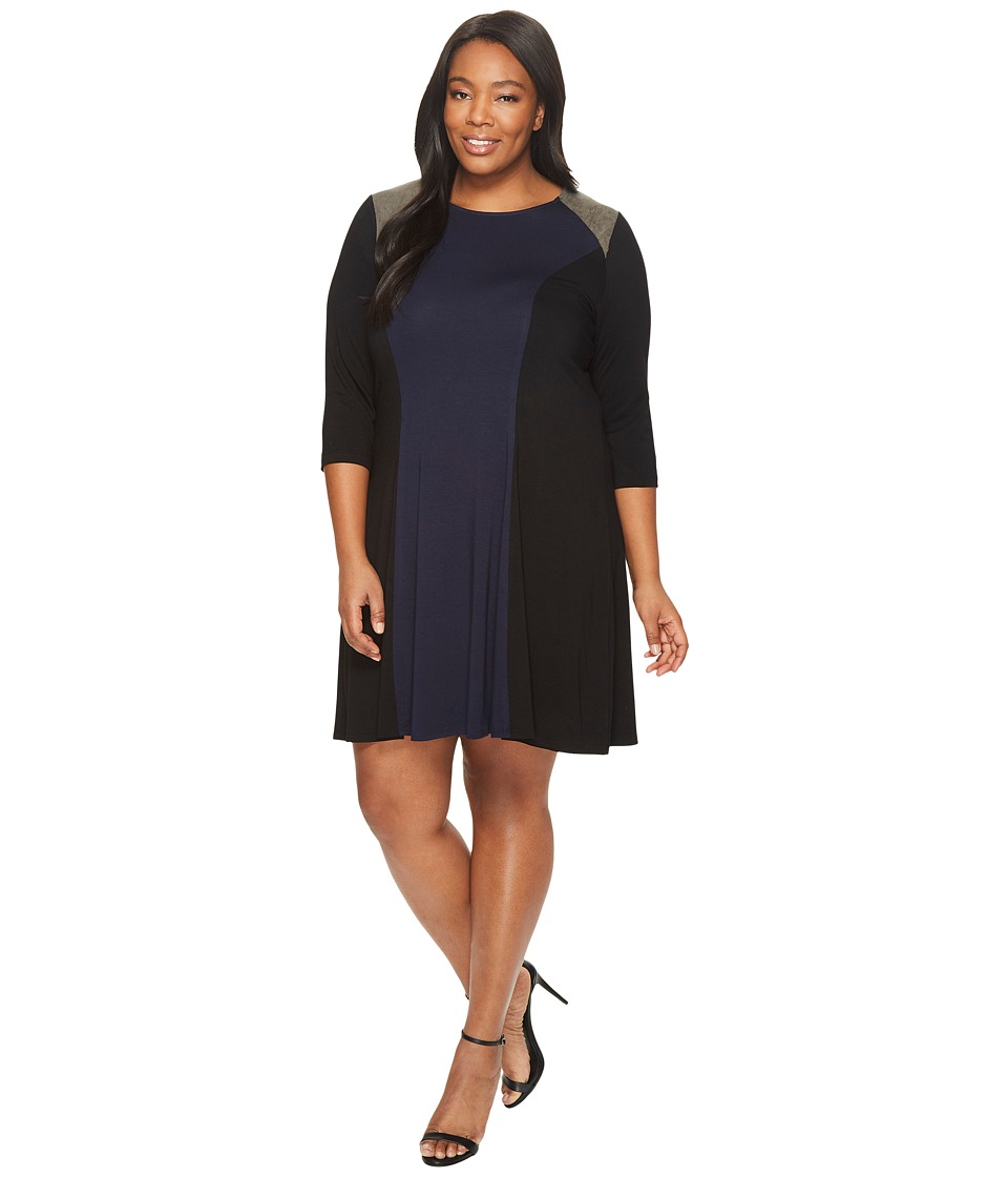 Karen Kane Plus - Plus Size Faux Suede Yoke Color Block Dress (Navy/Black) Women's Dress