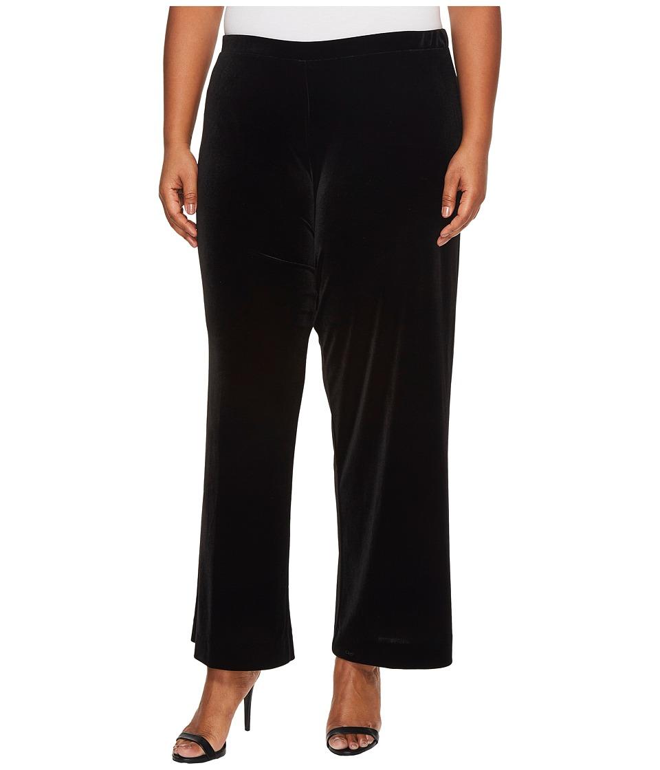 Karen Kane Plus - Plus Size Wide Leg Velvet Pants (Black) Women's Casual Pants