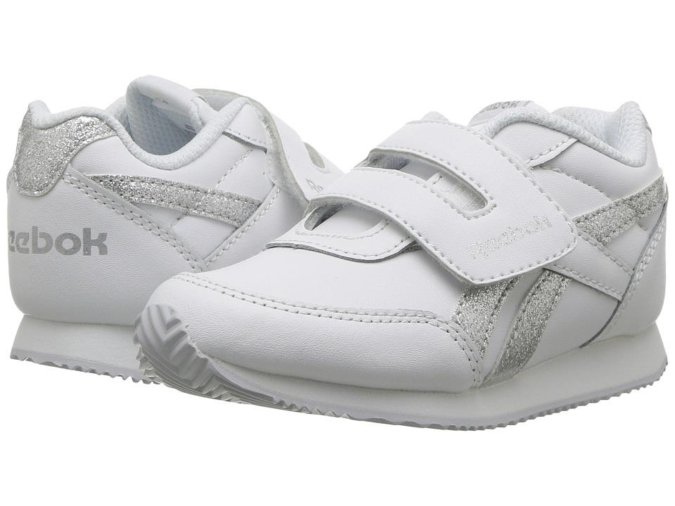 Reebok Kids Royal CL Jogger 2 KC (Toddler) (White/Silver Sparkle) Girls Shoes