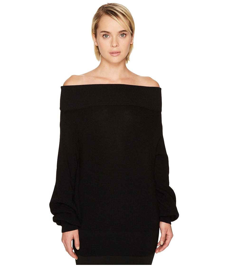 FUZZI Long Sleeve Off the Shoulder Merino Knit Sweater (Nero) Women