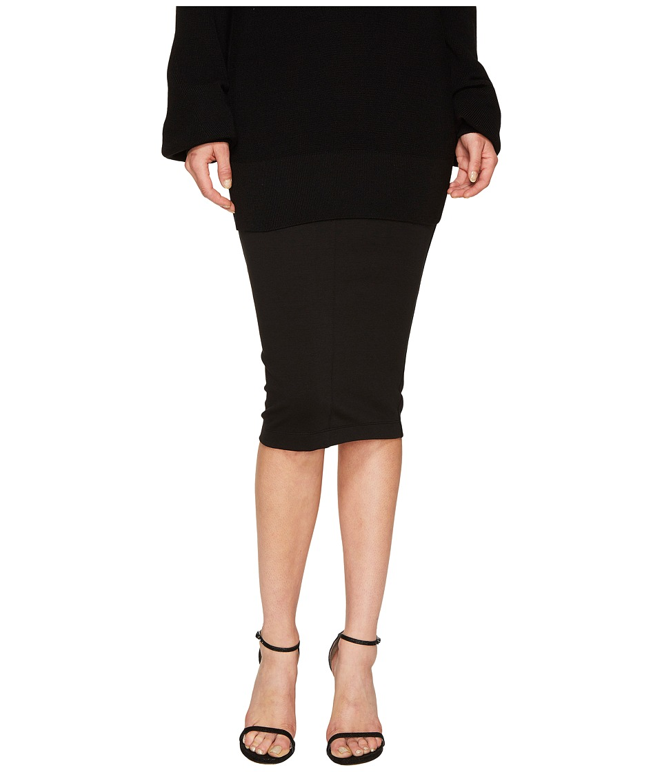 FUZZI - 3/4 Pencil Solid Skirt (Nero) Women's Skirt