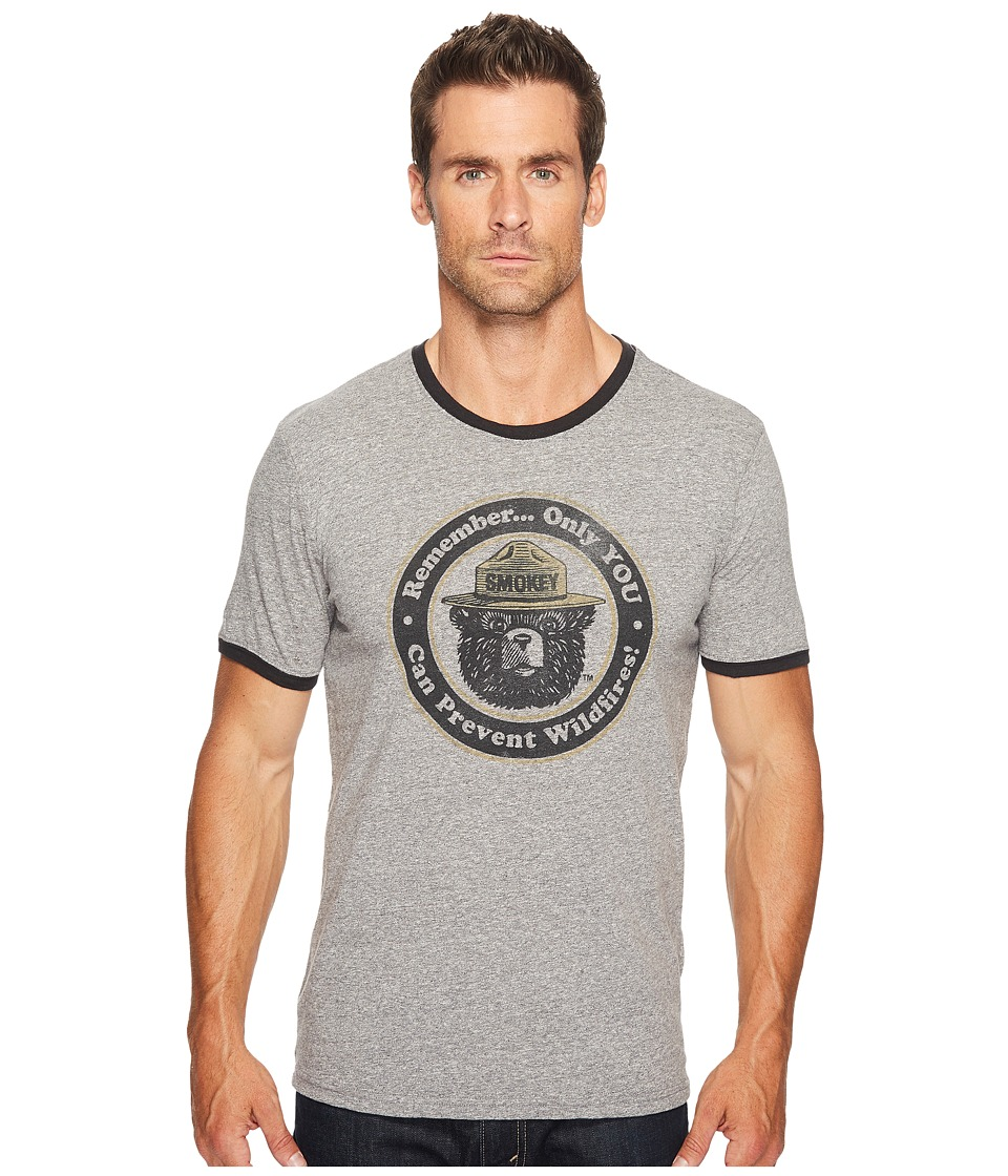 Lucky Brand - Smokey the Bear Ringer Tee (Multi (Heather Grey Body/Black Ringer)) Men's T Shirt