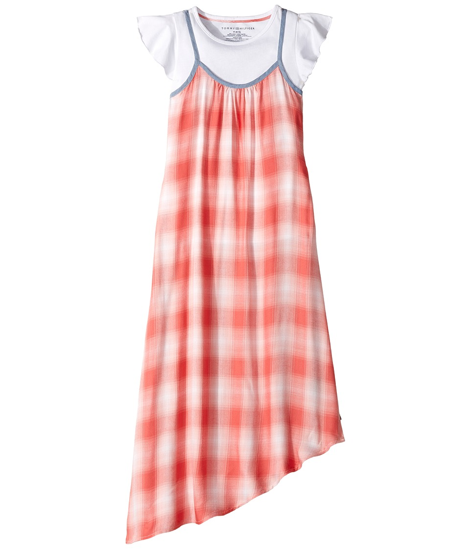 Tommy Hilfiger Kids - Twofer Cami Plaid Maxi Dress Tee (Big Kids) (Amaranth) Girl's T Shirt