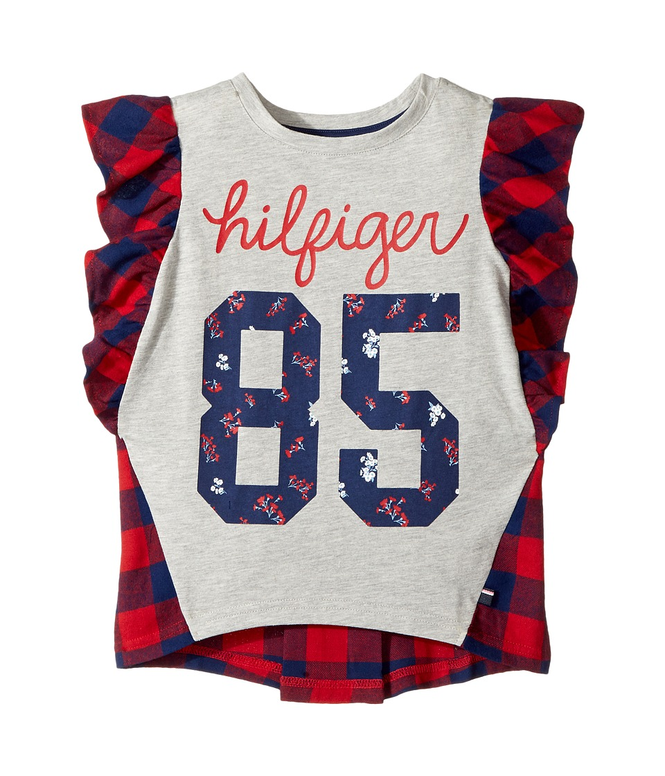 Tommy Hilfiger Kids - Flutter Sleeves Mix Media Top (Big Kids) (Bull's-eye Red) Girl's Clothing