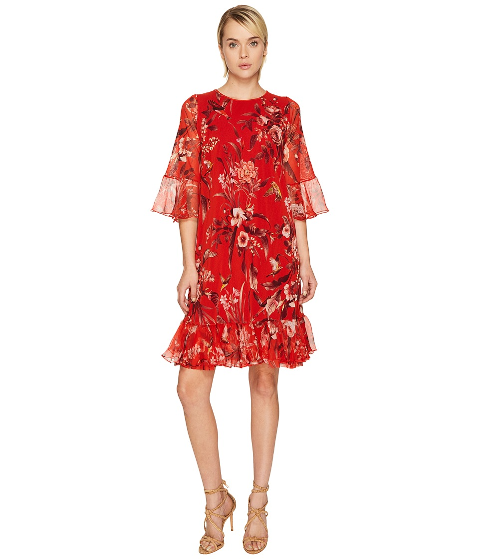FUZZI Hummingbird 3-4 Sleeve Silk Creponne Dress