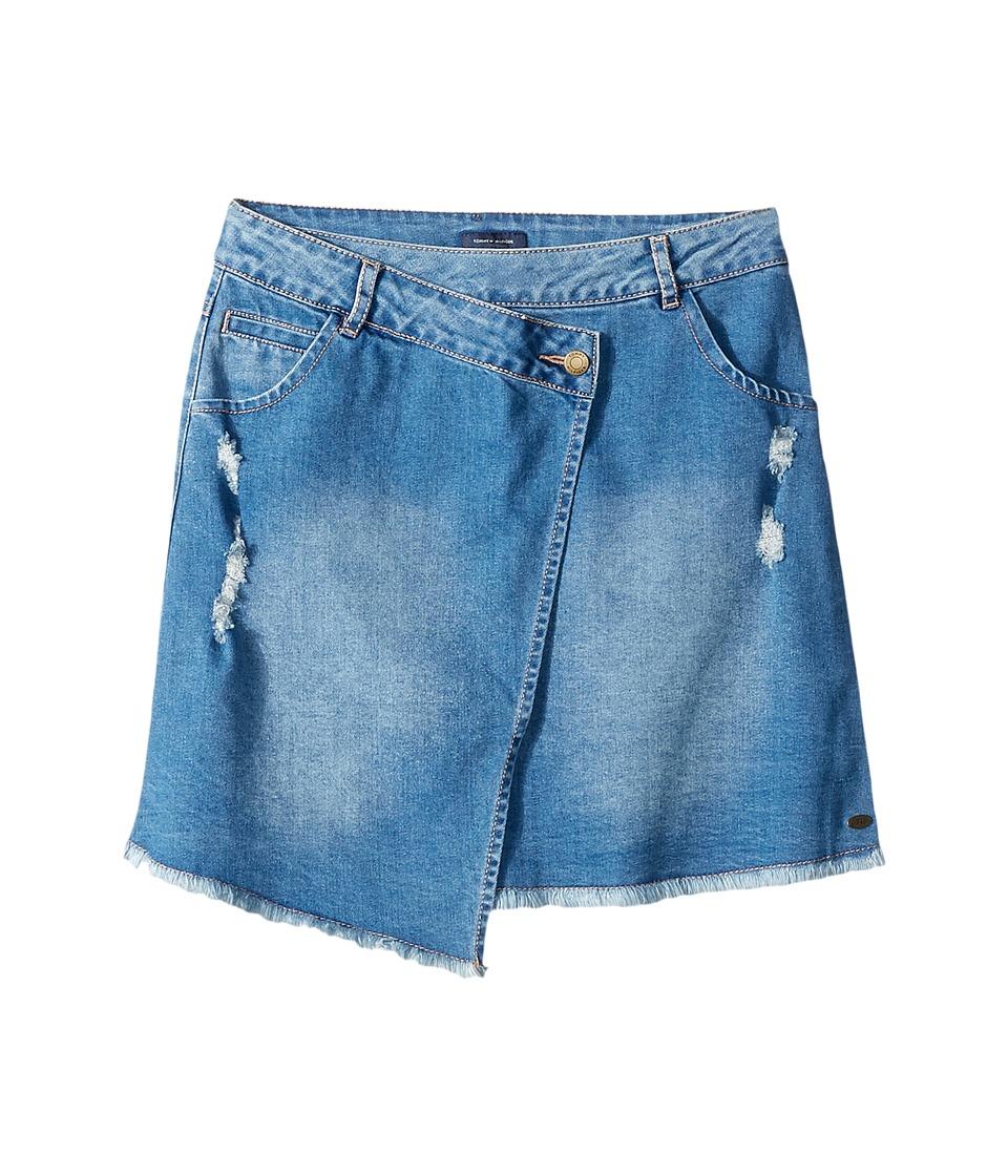Tommy Hilfiger Kids - Asymmetrical Denim Skirt (Big Kids) (Blue Haze) Girl's Skirt