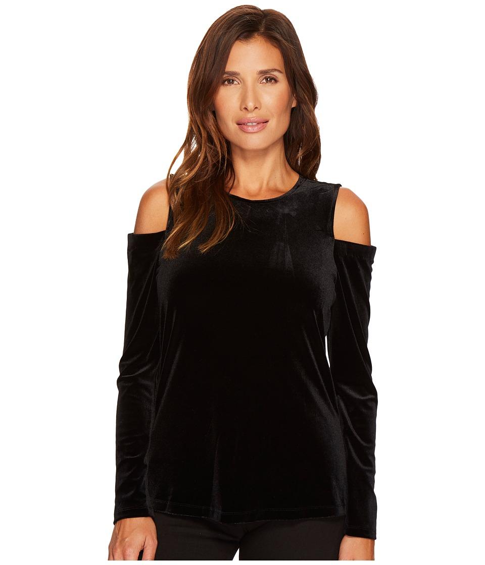 Calvin Klein Long Sleeve Cold Shoulder Velvet Top (Black) Women