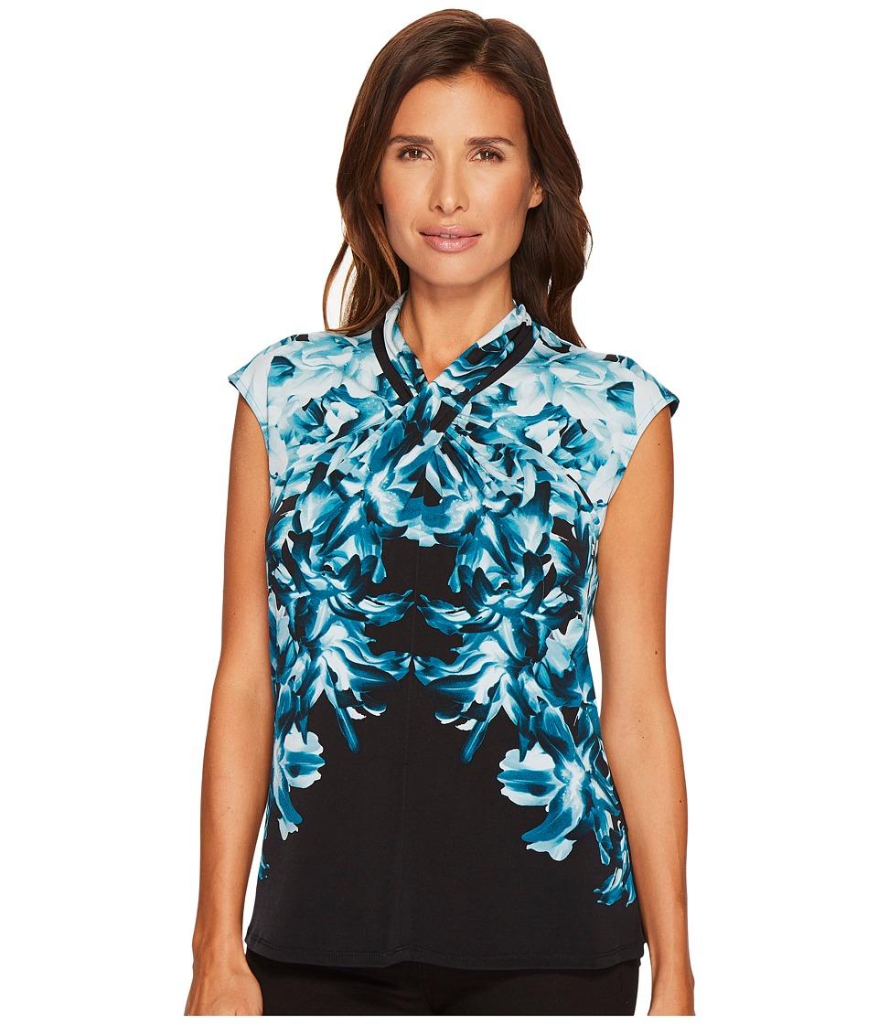 Calvin Klein Sleeveless Printed Top with Crisscross Neck (Cypress/Black) Women