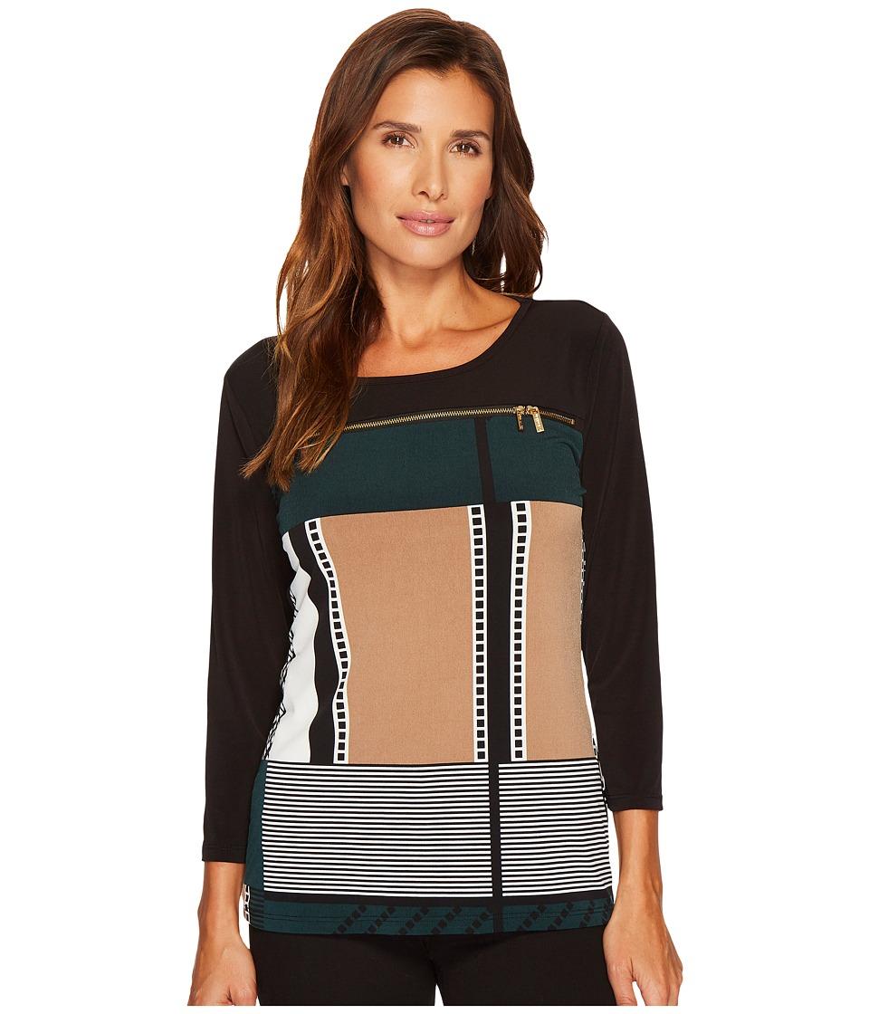 Calvin Klein 3/4 Sleeve with Horizontal Zips (Malachite/Black) Women