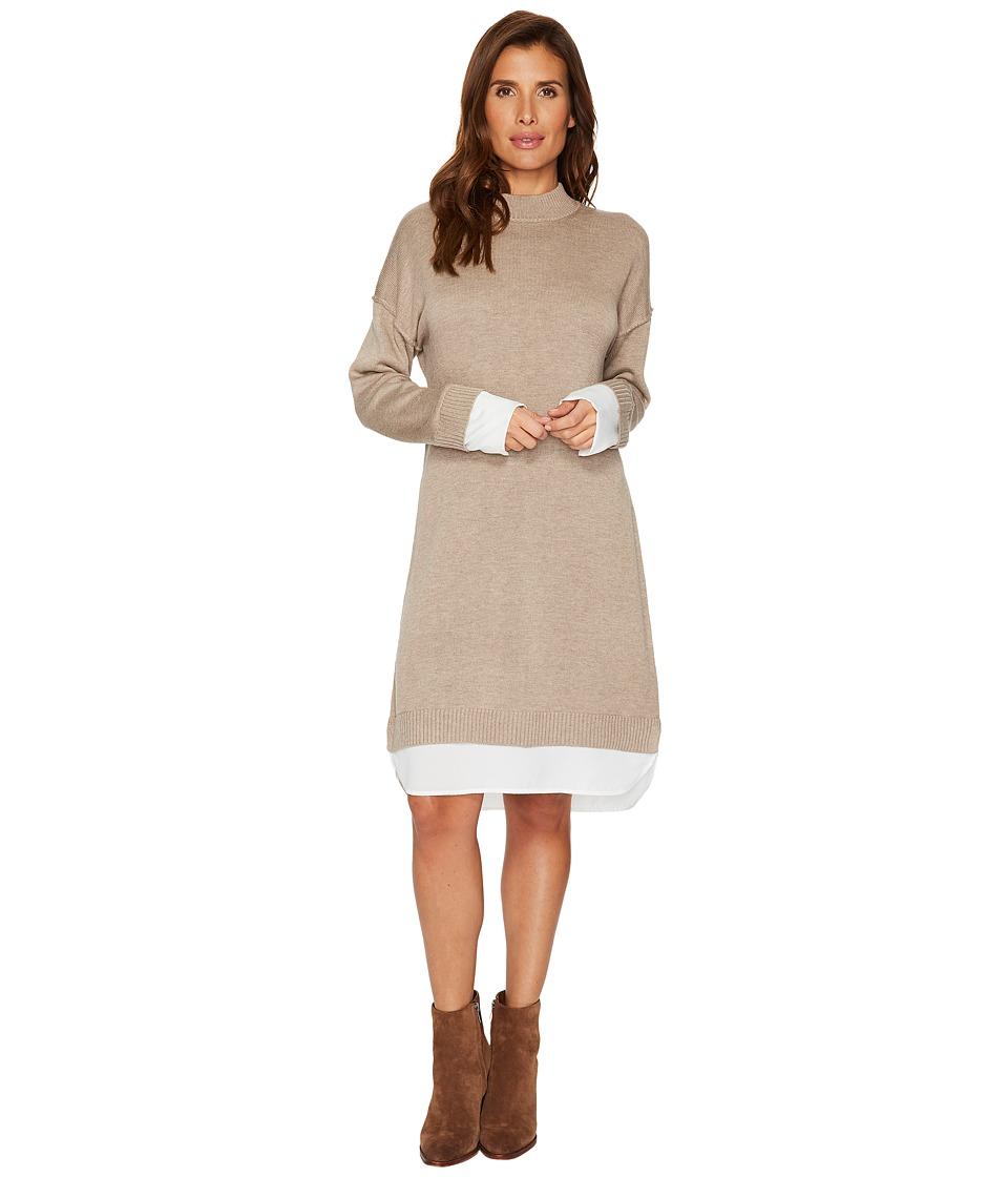 Calvin Klein Sweater Dress with Shirting (Heather Camel) Women