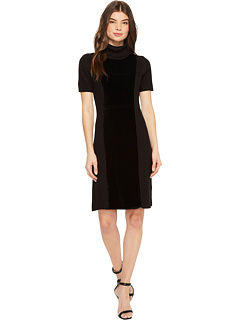 Velvet Front Turtleneck Dress by Calvin Klein