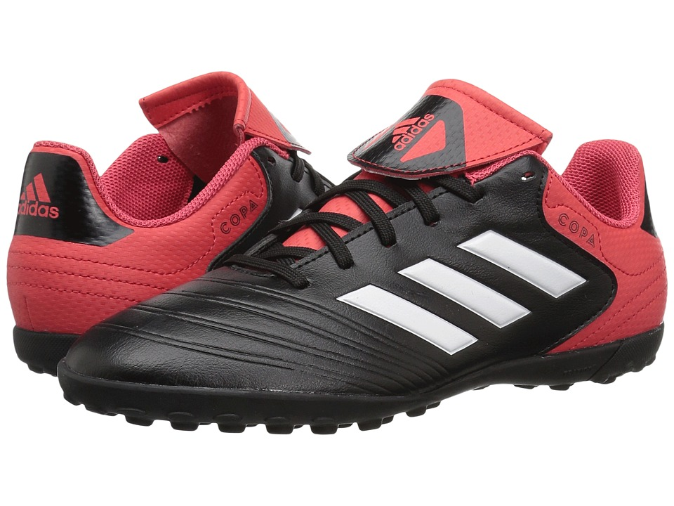 adidas Kids Copa Tango 18.4 Turf (Little Kid/Big Kid) (Black/White/Real Coral) Kids Shoes