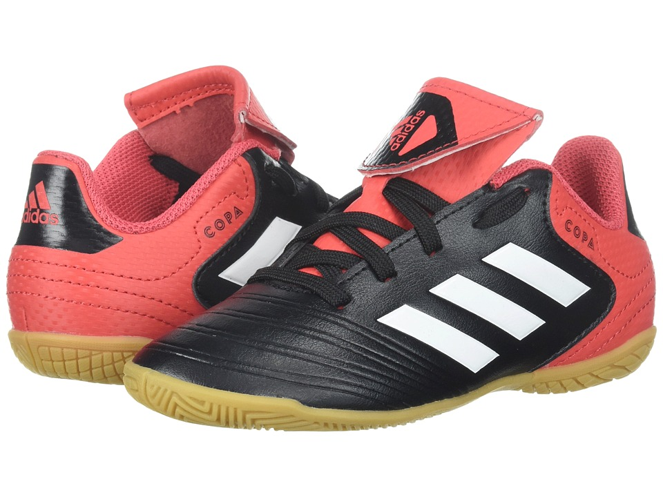 adidas Kids Copa Tango 18.4 Indoor (Little Kid/Big Kid) (Black/White/Real Coral) Kids Shoes