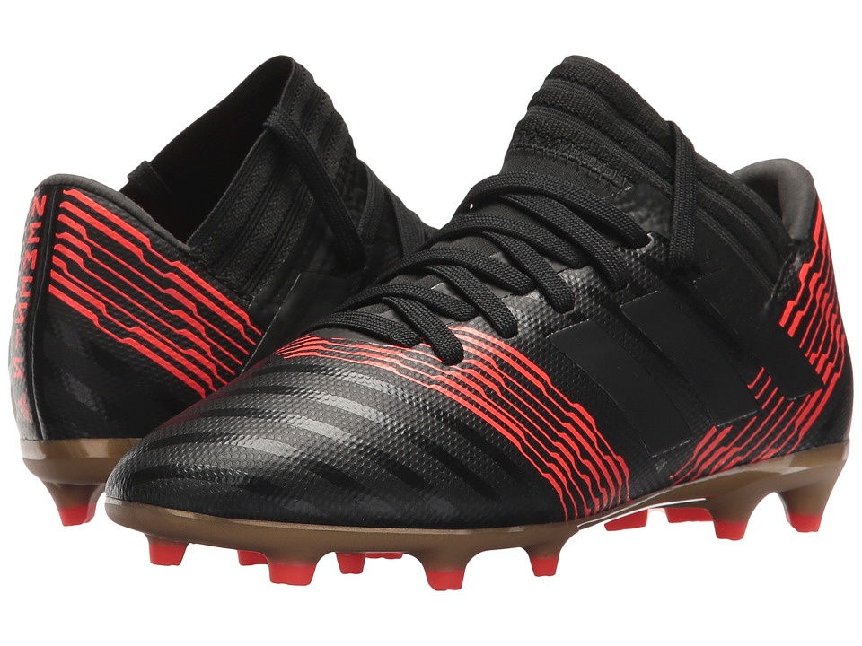 adidas Kids Nemeziz 17.3 FG J Soccer (Little Kid/Big Kid) (Black/Black/Solar Red) Kids Shoes