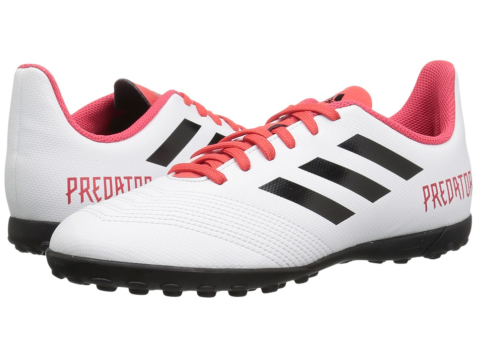 adidas Kids Predator 18.4 Turf (Little Kid/Big Kid) (White/Black/Real Coral) Kids Shoes
