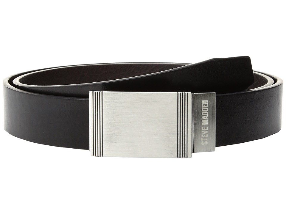 Steve Madden - 32mm Classic Plaque Reversible Belt (Black/Brown) Men's Belts
