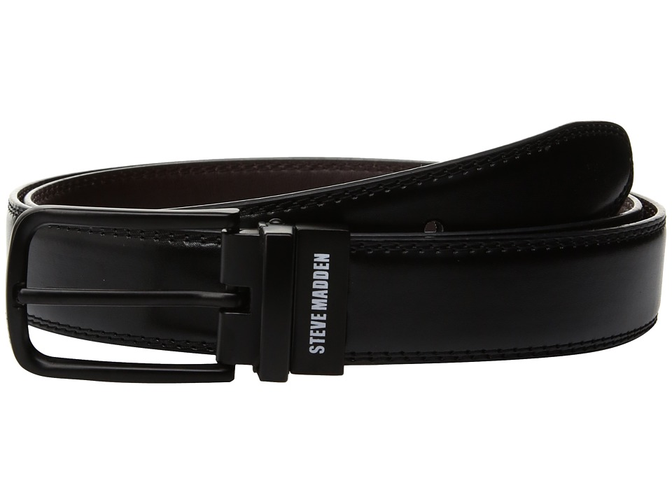 Steve Madden - 32mm Double Stitch Reversible Belt (Black/Brown) Men's Belts